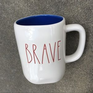 BRAVE Rae Dunn mug w/ blue inside